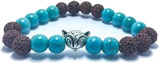 Turquoise stone Mixed with Lava Volcanic stone unisex bracelets (Optimism stone)