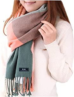 Winter Tartan Sjaal - Vrouwen Lange geruite Sjaals Warme Wol Britse Stijl Spinning Kwastje Sjaal Stola Voor Vrouwen Dames
