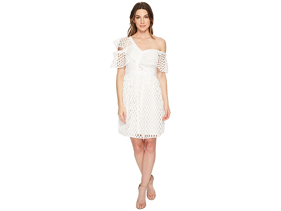 CeCe Bardot Off the Shoulder Ruffle Lace Dress (New Ivory) Women