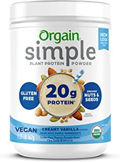 Orgain Simple Organic Plant Protein Powder, Vanilla, Vegan, Made with Fewer Ingredients and Without Dairy, Gluten and Stev...