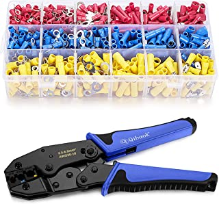 Wire Terminals Crimping Tool, Qibaok Insulated Ratcheting Terminals Crimper Kit of AWG22-10 with...