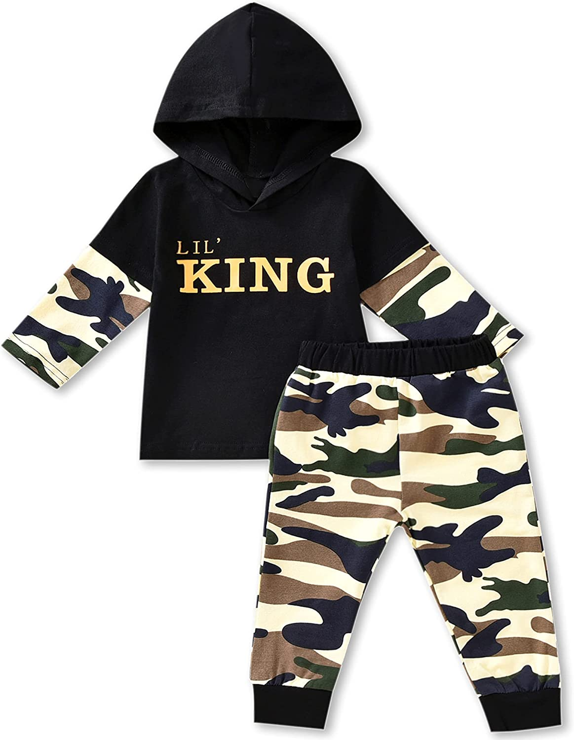 Toddler Baby Boy Outfit Clothes LittLe Kids Long Sleeve Hoodie Sweatshirt Camouflage Pants Set Fall Winter Clothing
