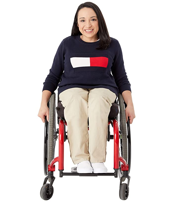 Tommy Hilfiger Adaptive  Seated Fit Flag Sweater (Masters Navy/Multi) Womens Clothing