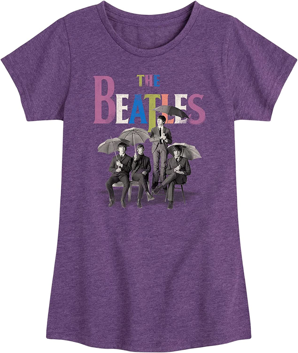 The Beatles Umbrella Rainbow - Girls Toddler and Youth Short Sleeve Graphic T-Shirt