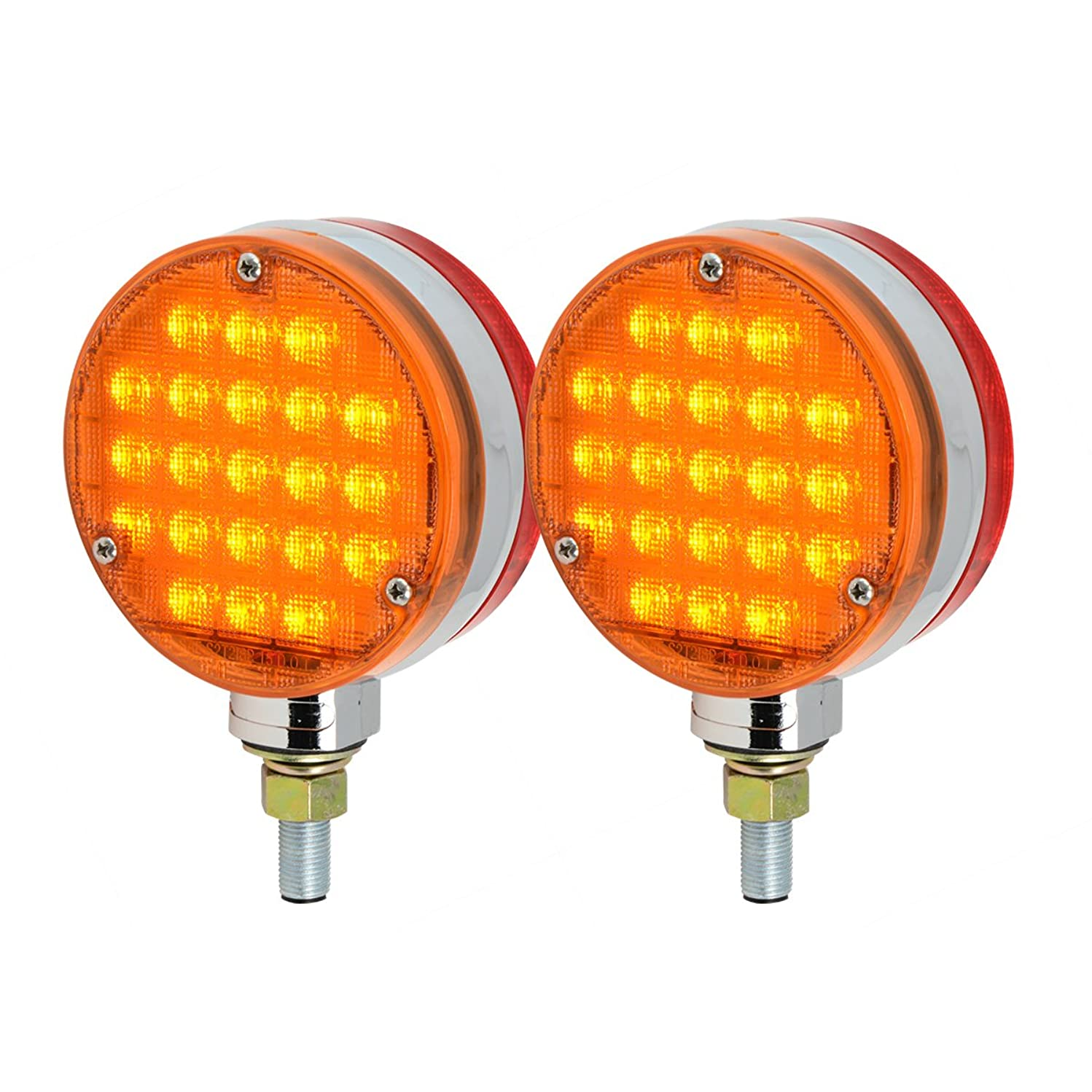 "GG Grand General Grand General 74704 4"" Smart Dynamic Double Face Amber/Red LED Pedestal Light for Truck, Towing, Trailer, RV and Bus – Twin Pack, 2"