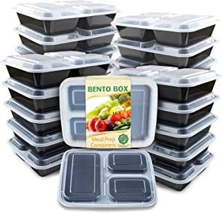 Enther Meal Prep Containers 36oz Lids, Food Storage Bento Box BPA Free/Reusable/Stackable Lunch Planning, Microwave/Freezer/Dishwasher Safe, Portion Control, 20 Pack 3 Compartments