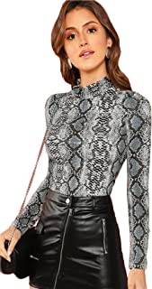 Women's Long Sleeve Snakeskin Mock Neck Slim Tops