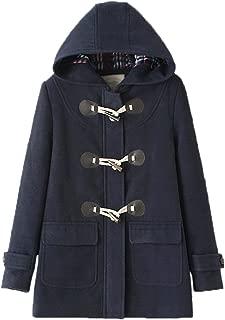 WSLCN Classic Duffle Coat Women Trench Coat Hooded Winter Casual Outerwear Woolen Fleece Pockets Peacoat