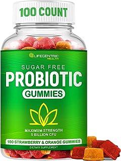 Probiotic Gummies for Adults and Kids Max Strength 5 Billion CFU   Organic Sugar Free Gummies for Digestive Health   100 C...