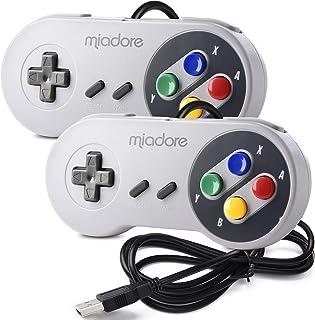 miadore 2X USB Contrôleur pour Jeux Snes NES, Manette de Jeu Classique rétro USB pour PC Windows Mac et système Raspberry Pi