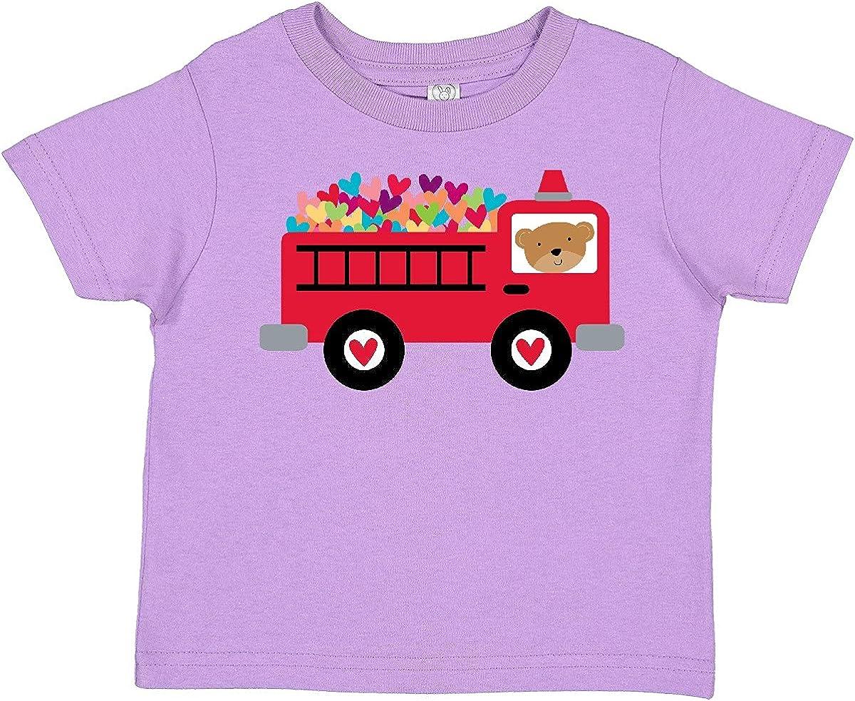 inktastic Valentine Fire Truck Heart Bear Toddler T-Shirt