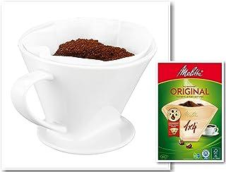 One and Go Feelino GR.4 porslin permanent kaffe filterinsats inkl. 40 st. Melitta 1x4 kaffefilter, filter handfilter kaffe...