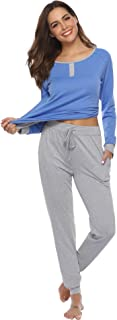 Aibrou Women's Cotton Long Sleeve Pajamas Set Soft Sleepwear Loungewear
