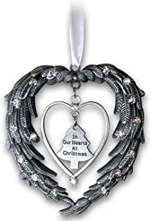 "Remembrance Ornament ""In Our Hearts At Christmas"" Angels Wings Jeweled Accents"