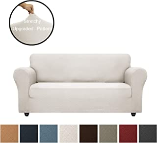 Obytex Sofa Cover High Stretch 1-Piece Premium Slipcovers Furniture Protectors Couch Covers with Elastic Bottom for Both Leather and Cloth Sofa (Sofa, Cream)