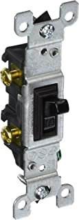 Leviton 1451-2E Framed Grounded Toggle Switch, 120 V, 15 A, 1 P, 1 Count, Black