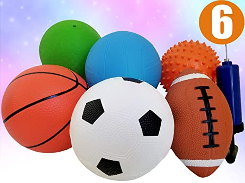 "ToysOpoly Set of 6 Sports Balls with 1 Pump - 5"" Soccer, 5"" Basketball, 5"" Volleyball, 5"" Playground, 5"" Knobby Ball,..."