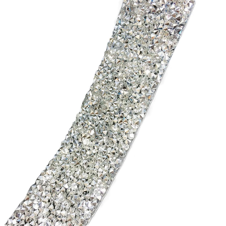 Yalulu Clear Silver Crystal Rhinestone Wedding Banding Ribbon,3cm Width,Fancy Bridal Dress Belt Trim,Wedding Cake Banding