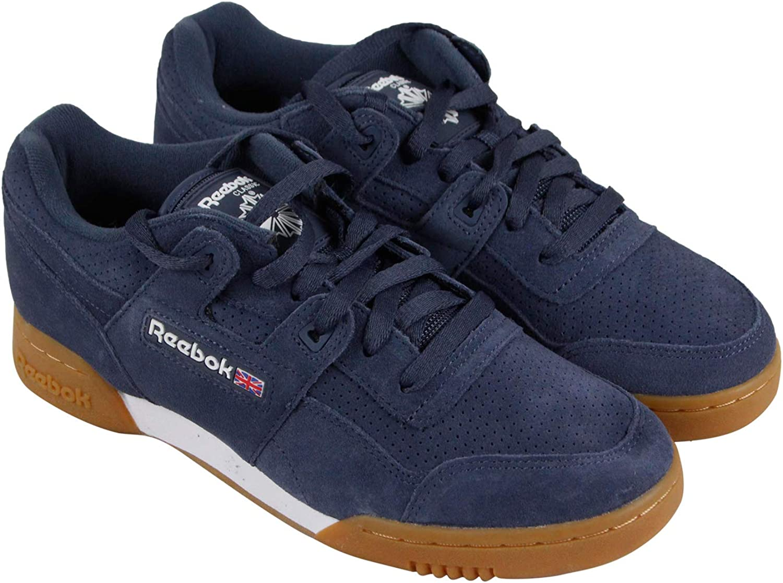 Reebok Men's Workout Low Classic shoes (8 M US, Smoky Indigo White Gum)
