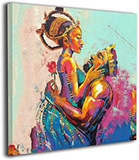 Arnold Glenn African American King and Queen Crown Rose Love Afro Photo Paintings Canvas Wall Art Prints Contemporary Home Decoration Giclee Artwork-Wood Frame Gallery Wrapped