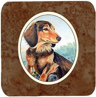 "Caroline's Treasures 7023FC Long Hair Chocolate And Cream Dachshund Foam Coasters (Set of 4), 3.5"", Multicolor"