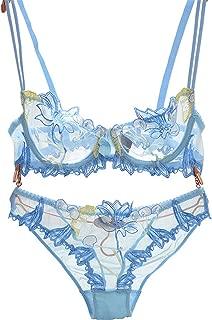 Baqijian Flowers Lace Lingerie Set Transparent Underwear Women Sexy Bra Panty Black Bow