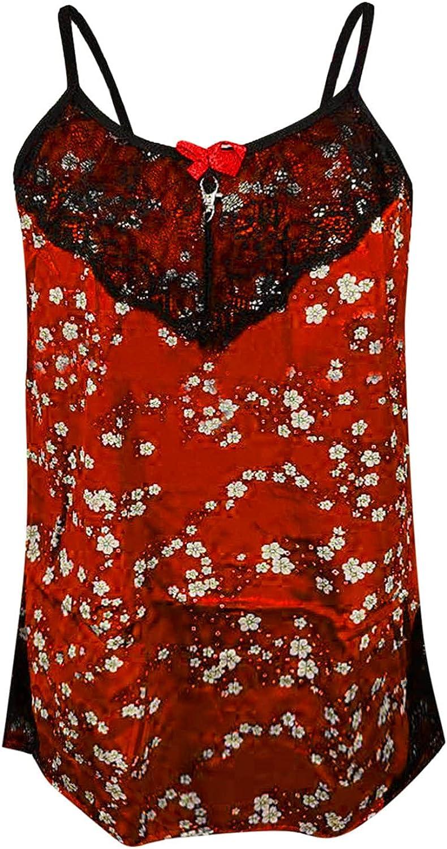 Nightwear Satin Sleepwear Slip Dress Babydol Lace Deep Floral V Sacramento Mall online shop