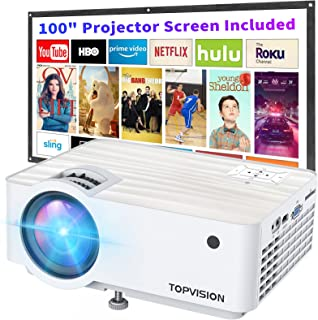 """Video Projector, Top Vision 6500L Portable Mini Projector with 100"""" Projector Screen, 1080P Supported, Built in HI-FI Spea..."""
