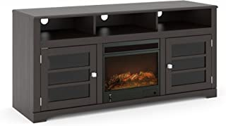 Sonax TWB-206-F West Lake Fireplace TV Stand Component Bench Media Storage Unit in Mocha Black, for TV Up To 68