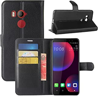 INJOY HTC U11 Eyes Case,Premium PU Leather Wallet Flip Phone Protective Case Cover with Card Slots and Magnetic Closure for HTC U11 Eyes Smartphone (Wallet - Black)