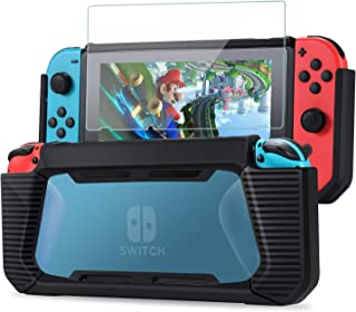 Tasikar Heavy Duty Case Compatible with Nintendo Switch Enhanced Grip Rubberized Protective Cover Case with Tempered Glass...