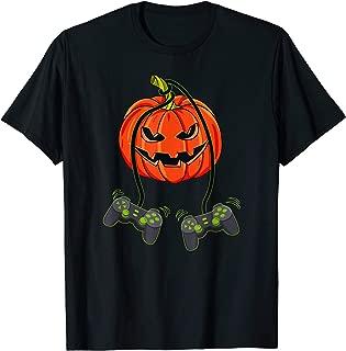 Jack O Lantern Video Gamer Controllers Halloween Boys Kids T-Shirt