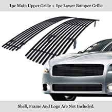 APS Compatible with 2009-2014 Nissan Maxima Stainless Steel Black 8x6 Horizontal Billet Grille Insert Combo N87774J