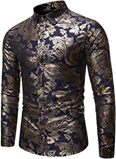 Luxury Shiny Printed Dress Shirts Men's Stylish Slim Fit Button-Down Bronzing T-Shirt Hip Hop Lapel Casual Boys Streetwear Boyfriend Gifts