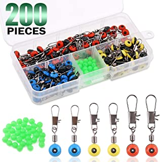Keadic 200Pcs 3 - Color Fishing Line Sinker Slides Hook Shank Clip Connector Swivels and Green Glow Fishing Beads Small Fishing Accessories Kit Easy to Use