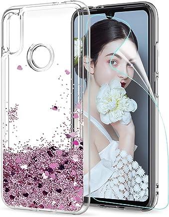 Funda Xiaomi Redmi Note 7 / Note 7 Pro Silicona Purpurina Carcasa con HD Protectores de Pantalla,LeYi Transparente Cristal Bumper Telefono Gel TPU Fundas Case Cover para Movil Redmi Note 7 ZX Oro Rosa