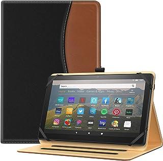 TiMOVO タブレットケース 7~8インチタブレット適用 汎用保護カバー 全面保護 高級PU製 収納スロット付き スタンドケース ブラックブラウン