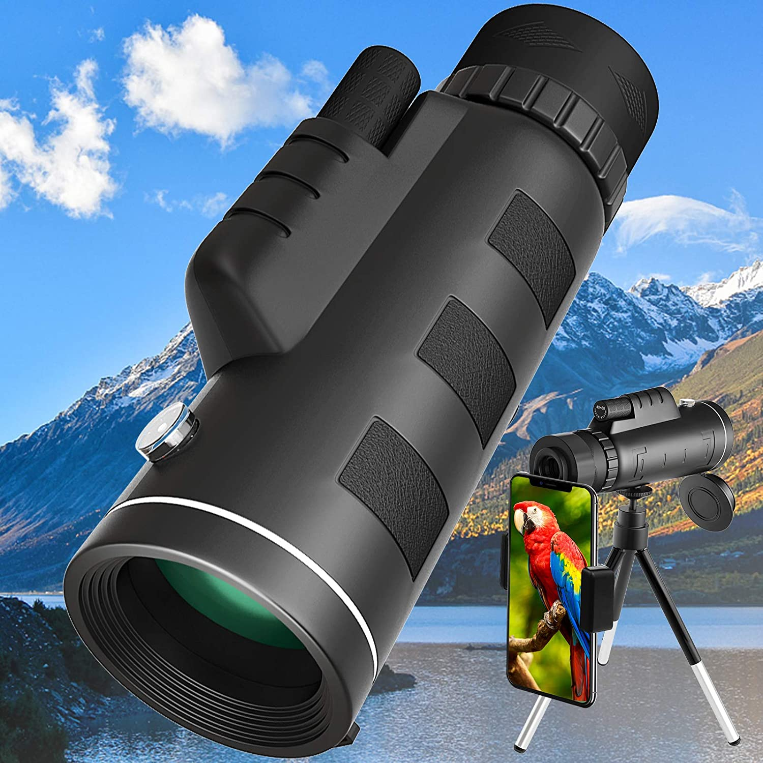 SFABF Monocular Telescope 40x60 Sales results No. 1 with Smartphone Our shop most popular Holder