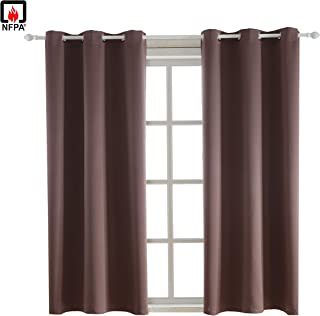 BEGOODTEX Flame Retardant Curtains Fire Resistant Blackout Room Darkening Curtain, Brown, 42W by 63L inch, 1 Panel