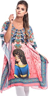 Arabian Clothing Pink Mixed Round Neck Kaftan & Kimono For Women