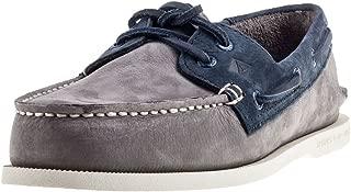 Two Tone 2 Eye Boat Shoe Grey & Navy