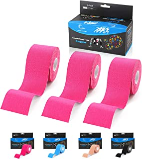 Kinesiology Tape, N.C.D Waterproof Muscle Tape for Athletes Shoulder Back Muscles Joints Sports Tape Athletic Elastic Fitness Patch Pack of 3, 2 Inch×16.4 Ft (Pink)
