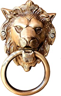 "eSplanade - 6.75"" Brass Lion Mouth Door Knocker 