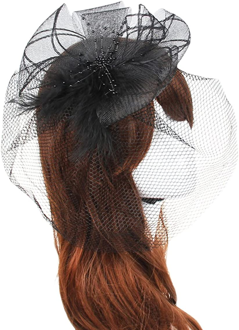 Belyee Fascinator Hats for Women Cocktail Party Veil Hats with Clip and Headband