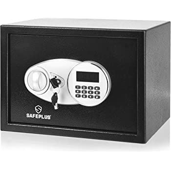 Safstar Security Safe Box w/2 Keys, 0.5Cubic Feet 2-Layer Steel Safe w/Electronic Digital Keypad for Home Office Hotel, Safe Cash Jewelry Passport Guns Cabinet, Black