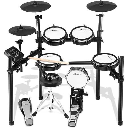 Donner 電子ドラム セット メッシュ 自宅練習 折りたたみ式 MIDI機能 ドラムスローン/スティック/ヘッドホン/オーディオケーブル/ホルダー/デラックスメッシュキット付き 日本語説明書 DED-200 (5ドラム3シンバル)