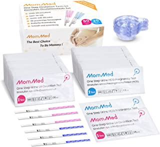 Ovulation and Pregnancy Test Strips (HCG25-LH80), OPK Ovulation Predictor Kit Includes 25 Early Pregnancy Tests, 80 Ovulation Test Strips, 105 Urine Cups, Accurate Fertility Test for Women