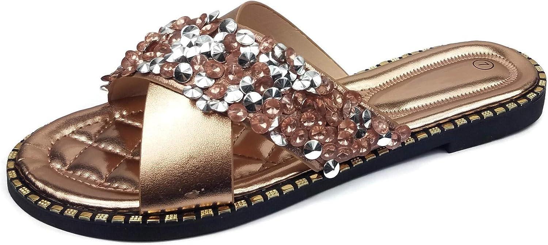 Womens Rhinestone Flat Slide Sandals Comfort Padded