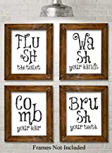 Bathroom Quotes and Sayings - Set of Four Photos (8x10) Unframed - Makes a Great Gift Under $20 for Bathroom Decor