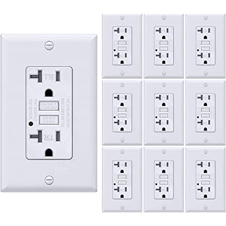 GFI Duplex Receptacle with 2 LED Indicators UL Listed Auto-Test Ground Fault Circuit Interrupter with Decor Wall Plate 4 Pack SZICT 20A GFCI USB Outlet Tamper-Resistant TR